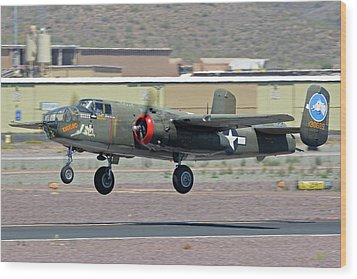 Wood Print featuring the photograph North American B-25j Mitchell Nl3476g Tondelayo Deer Valley Arizona April 13 2016 by Brian Lockett