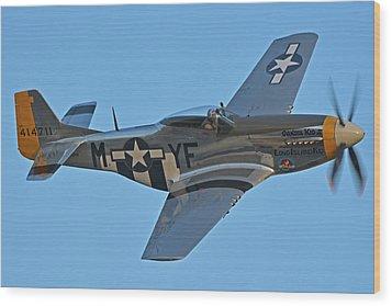 North American P-51d Mustang Nl151hr Chino California April 29 2016 Wood Print by Brian Lockett