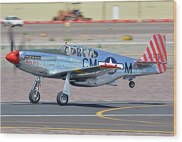Wood Print featuring the photograph North American Tp-51c-10 Mustang Nl251mx Betty Jane Deer Valley Arizona April 13 2016 by Brian Lockett