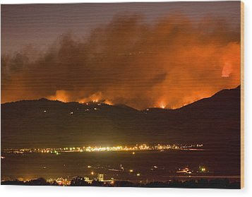 North Boulder Colorado Fire Above In The Hills Wood Print by James BO  Insogna