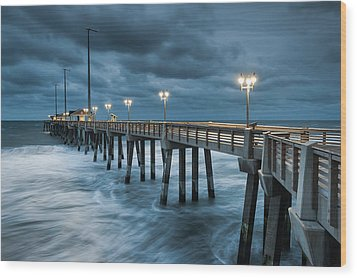 North Carolina Fishing Pier Outer Banks Wood Print by Mark VanDyke