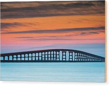 North Carolina Outer Banks Herbert C. Bonner Oregon Inlet Bridge Wood Print by Mark VanDyke