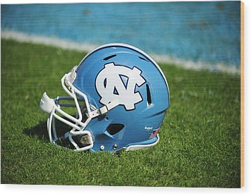 North Carolina Tar Heels Football Helmet Wood Print by Replay Photos