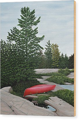 North Country Canoe Wood Print by Kenneth M  Kirsch