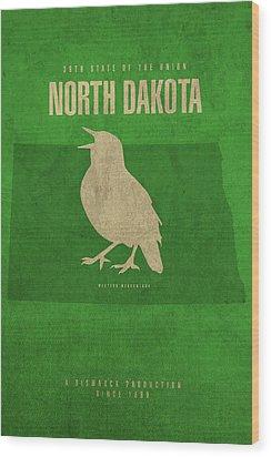North Dakota State Facts Minimalist Movie Poster Art Wood Print by Design Turnpike
