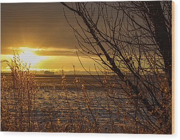 North Dakota Sunset Wood Print