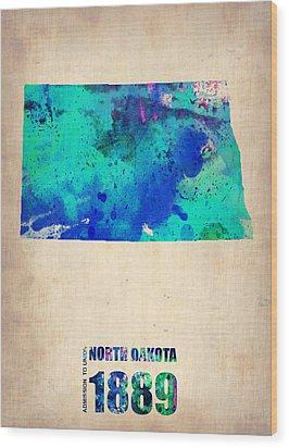 North Dakota Watercolor Map Wood Print by Naxart Studio