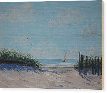 North Forest Beach Wood Print