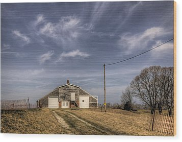 North Fork Farm Wood Print by Steve Gravano