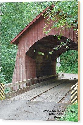North Fork Yachats Bridge 2 Wood Print by Methune Hively