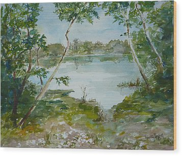 North Lake Wood Print by Dorothy Herron