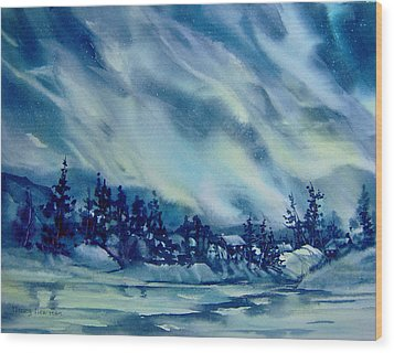 North-of-aurora Wood Print by Nancy Newman
