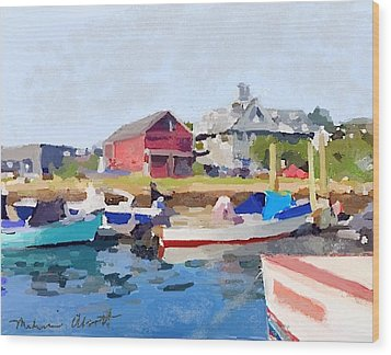 North Shore Art Association At Pirates Lane On Reed's Wharf From Beacon Marine Basin Wood Print by Melissa Abbott
