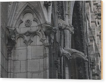 Wood Print featuring the photograph North Side Notre Dame Cathedral by Christopher Kirby