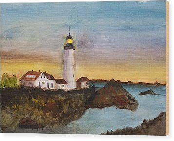 Wood Print featuring the painting North Truro Light House Cape Cod by Donna Walsh
