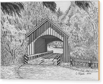 North Yachats Covered Bridge Wood Print by Lawrence Tripoli