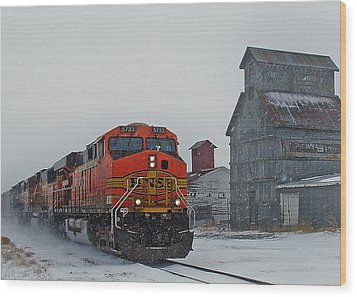 Northbound Winter Coal Drag Wood Print by Ken Smith