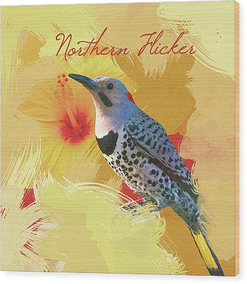 Wood Print featuring the photograph Northern Flicker Watercolor Photo by Heidi Hermes