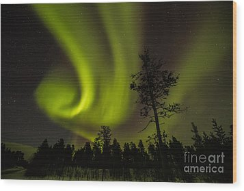 Northern Light In Finland Wood Print