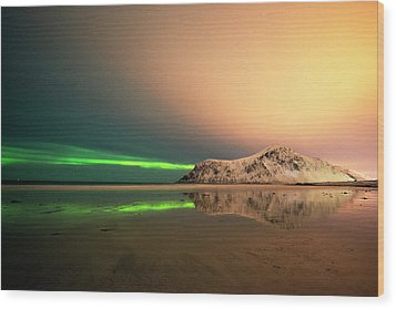 Northern Light In Lofoten Nordland 5 Wood Print