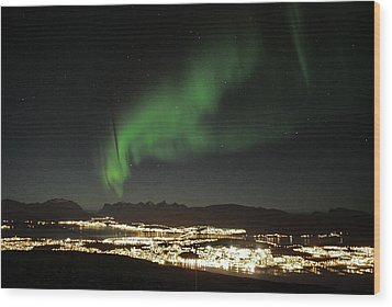 Northern Light In Troms, North Of Norway Wood Print