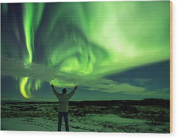 Northern Light In Western Iceland Wood Print