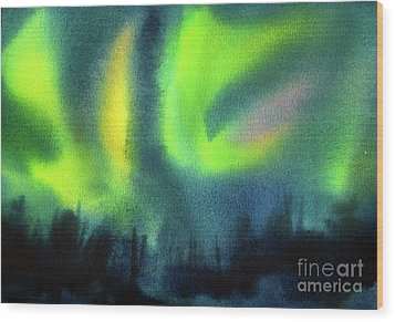 Wood Print featuring the painting Northern Lights 3 by Kathy Braud