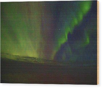 Northern Lights Or Auora Borealis Wood Print