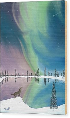Northern Lights The Wolf And The Comet  Wood Print by Jackie Novak