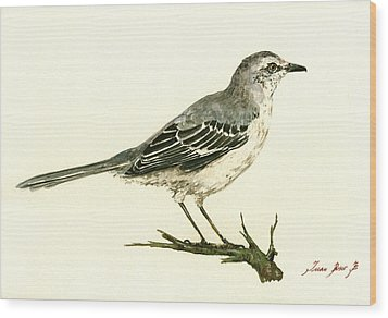 Northern Mockingbird Wood Print by Juan  Bosco
