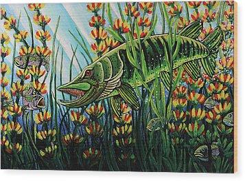 Northern Pike Wood Print by Bob Crawford