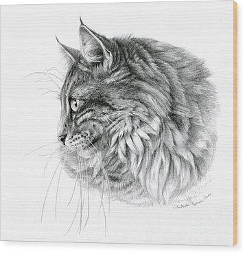 Norwegian Forest Cat Wood Print by Svetlana Ledneva-Schukina