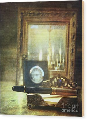 Nostalgic Still Life Of Writing Pen With Clock In Background Wood Print by Sandra Cunningham