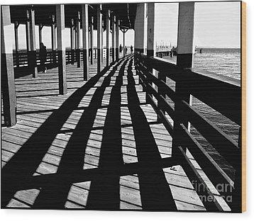 Nostalgic Walk On The Pier Wood Print