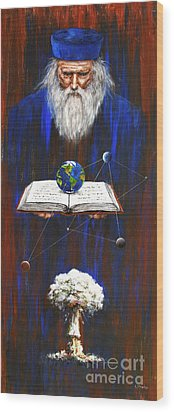 Wood Print featuring the painting Nostradamus by Arturas Slapsys