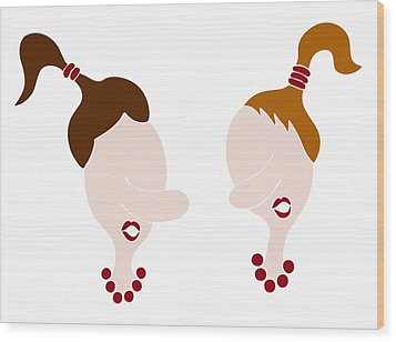 Nosy Girls Wood Print by Frank Tschakert