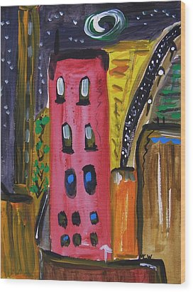 Not A Common City Night Wood Print by Mary Carol Williams