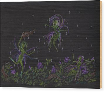 Wood Print featuring the drawing Not Exactly Weather Wanted by Dawn Fairies