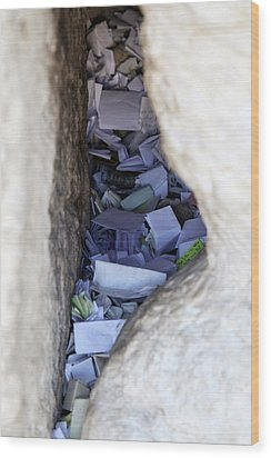 Notes In The Wailing Wall  Wood Print by Yoel Koskas