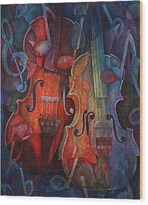 Noteworthy - A Viola Duo Wood Print by Susanne Clark