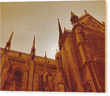 Notre Dame At Sunset Wood Print by Tony Grider