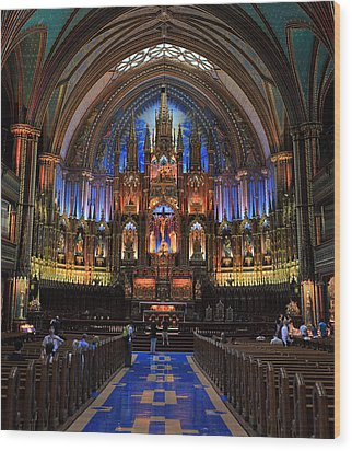 Notre Dame Basilica Montreal City Wood Print by Pierre Leclerc Photography