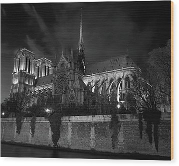 Wood Print featuring the photograph Notre Dame By Night, Paris, France by Richard Goodrich