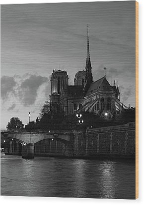 Wood Print featuring the photograph Notre Dame By Night by Richard Goodrich