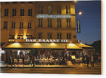 Wood Print featuring the photograph Notre Dame Cafe by Andrew Fare