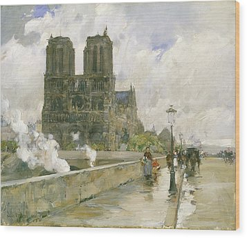 Notre Dame Cathedral - Paris Wood Print by Childe Hassam