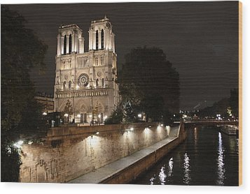 Wood Print featuring the photograph Notre Dame Cathedral From Petit Pont by Christopher Kirby