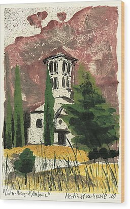 Wood Print featuring the painting Notre Dame D'aubune by Martin Stankewitz