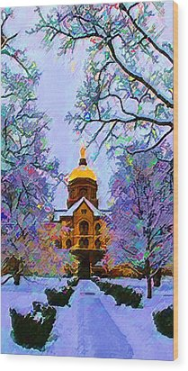 Notre Dame Wood Print