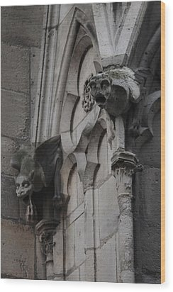 Wood Print featuring the photograph Notre Dame Grotesques by Christopher Kirby